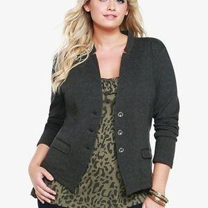Torrid gray knit military jacket size 0 L-XL